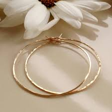 hammered hoops gold hoop earrings 1 5 inch hoops crafted hoops thin