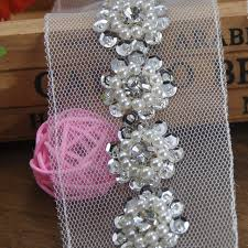 shabby trim lace and pearl sequin beaded trim ribbon wedding bridal vintage