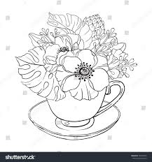 vector illustration coloring page flowers stock vector