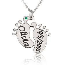 Baby Personalized Jewelry Baby Feet Necklace For Mom Name Necklace Persjewel