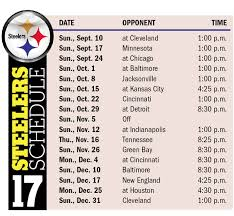 times dates released for steelers 2017 schedule