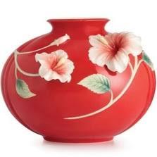 Franz Vase Hummingbird Vase Hibiscus Porcelain Franz