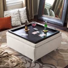 gray leather ottoman coffee table coffee tables ideas leather storage ottoman table great regarding