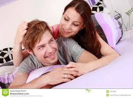 young couple in the bedroom stock photo image 31927090