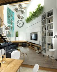 industrial and natural l shaped living room with black tufted sofa