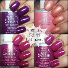 purple and pink swatches of ibd just gel nail polish colors