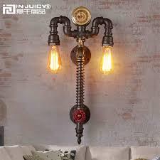 Steunk Light Fixtures Retro Industrial Clock Metal Water Pipe Steunk E27 Edison Wall
