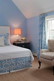 splashy norbar fabrics fashion other metro traditional bedroom inspiration with banded bedskirt bed skirt carpet clean light blue walls matching fabric