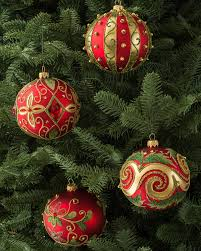 set of 4 decorated glass ball ornaments balsam hill