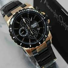 Jam Tangan Alexandre Christie Cowok jam tangan pria alexandre christie ac 6141 black gold original