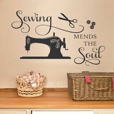 sewing mends the soul seamstress quote sewing room decal zoom