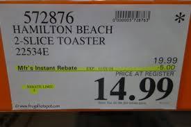 Hamilton Beach Two Slice Toaster Costco Sale Hamilton Beach 2 Slice Brushed Metal Toaster 22534e