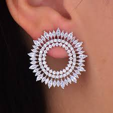 big stud earrings godki fashion aaa cubic zirconia brilliant elegand circle olive