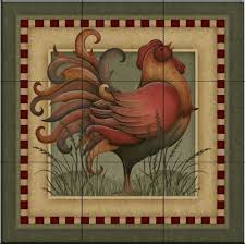 ceramic tile mural folk rooster by angela anderson kitchen