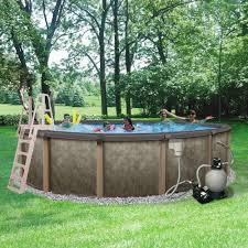 Swimming Pool In Backyard by Blue Wave Riviera 18 Ft Round 54 In Deep 8 In Top Rail Metal