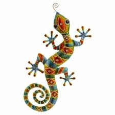 chameleon gecko beaded metal garden wall decoration patio art