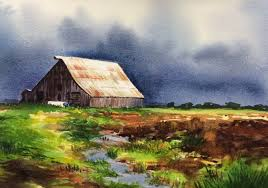 watercolor painting ideas of field with traditional home