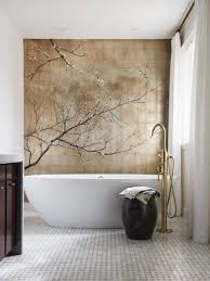 bathroom with cherry blossom mural on gold leaf wall asian style