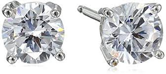 cubic zirconia earrings platinum plated sterling silver cut 5mm cubic