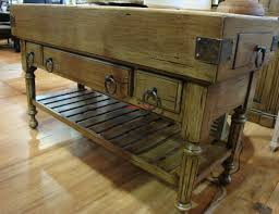 Kitchen Butchers Blocks Islands by Double Butcher Block Island In Antique Oak With Wrought Iron