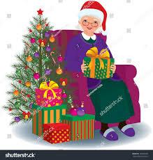 gifts for elderly grandmother elderly woman sitting chair christmas present stock illustration