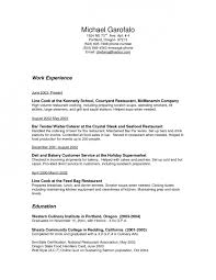 Restaurant Resume Sample by Sample Restaurant Resume Template Examples