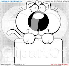 cartoon clipart of a black and white cute kitten holding a blank