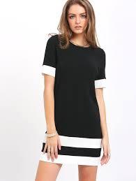 shift dress color block stripe sleeve shift dress shein sheinside