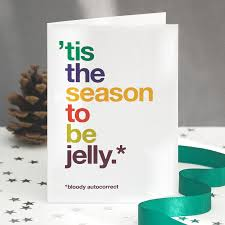 pack of eight autocorrect funny christmas cards by wordplay design