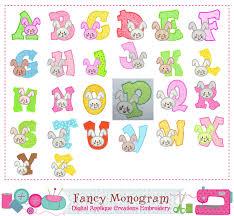 easter bunny letters applique bunny monogram a z applique fonts