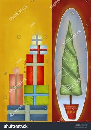 christmas tree gifts oldfashioned christmas greeting stock
