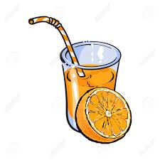 disegni bicchieri bicchiere di spremuta fresca con met罌 arancione illustrazione