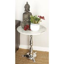 round silver accent table white marble round accent table with silver triangular footed