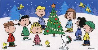 peanuts christmas peanuts singing around tree christmas card by hallmark