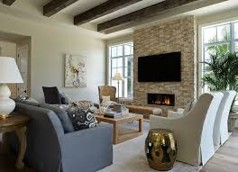 wallpaper fireplace wall family room transitional with