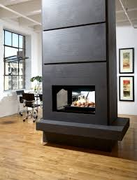 prodigious gas log contemporary fireplace combination with divider