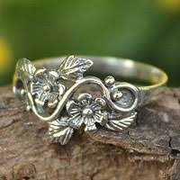 silver flowers flower and leaf sterling silver band ring from thailand siam