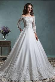 gown satin lace applique wedding dress off the shoulder long