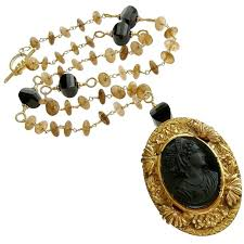 victorian cameo necklace images Amber quartz onyx necklace victorian onyx cameo brooch pendant for jpg