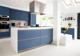White And Blue Kitchen Cabinets by Amersham 2 Kitchen Design Drawing Room Blue Lacquer Cabinetry