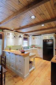 Pine Ceiling Boards by Country Kitchen With Flat Panel Cabinets By Mike Irby Photography