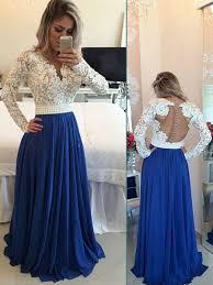 159 99 long a line v neck chiffon royal blue prom dresses 2017