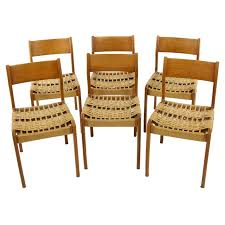 Woven Dining Chair Set Of 6 Deco 1960s Italian Teak Woven Dining Chairs At
