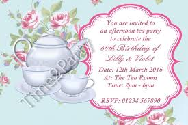 personalised afternoon tea invitations birthday garden