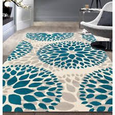 Modern Blue Rug Contemporary Blue Yellow Floral Pattern Beige Area Rug 7 U00276 X 9 U00275