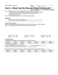 Accuracy Vs Precision Worksheet Answers What Can We Measure About Chemicals 9th 12th Grade Worksheet