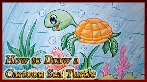 how to draw cartoon cute turtle tortoise step by step for kids