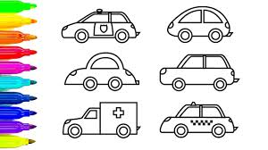 car coloring pages learn colors for kids with ambulance and