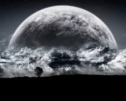 black white moon rising sea background hd wallpapers