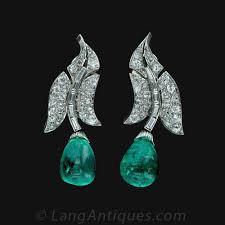 original diamond drop original deco emerald and diamond drop earrings